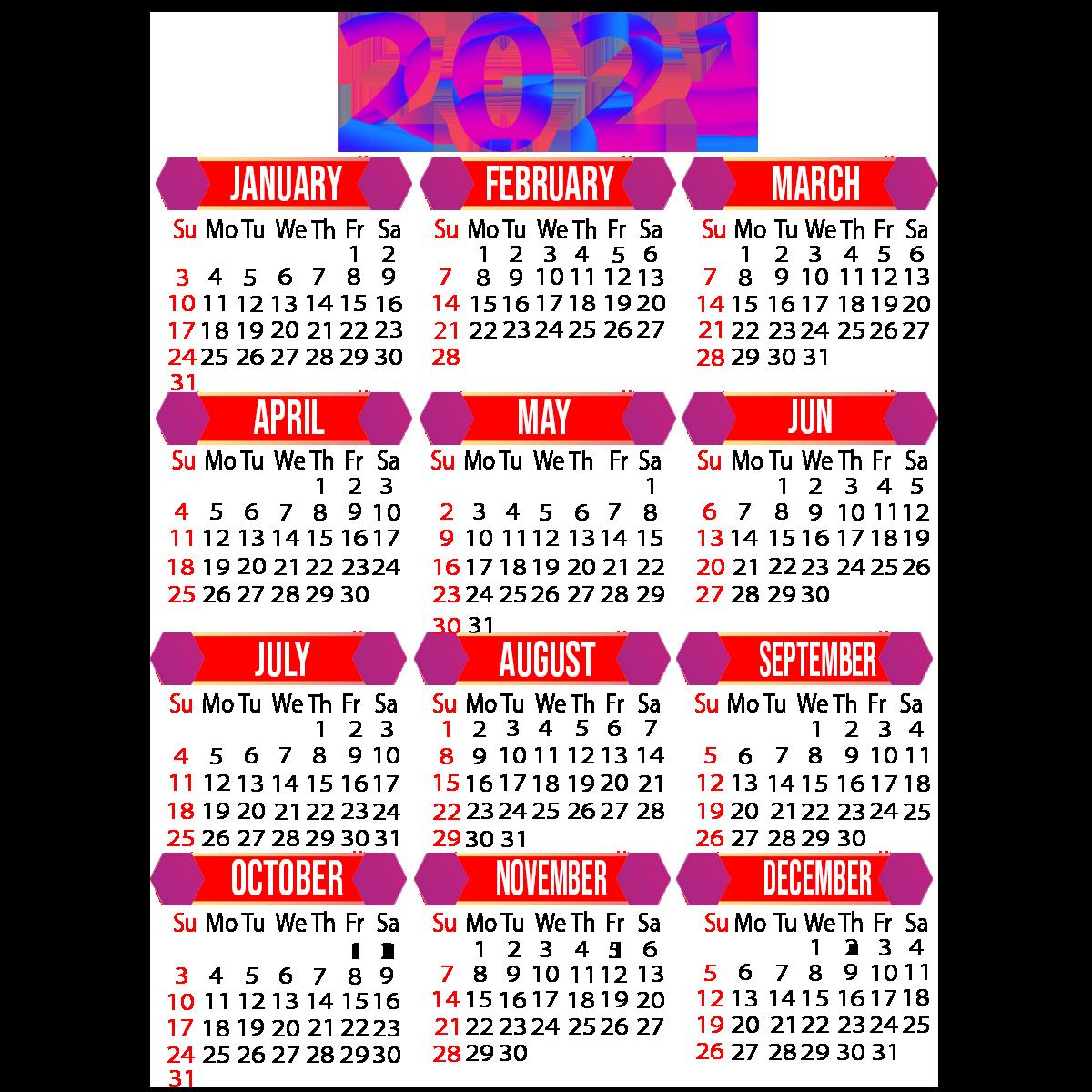 2021 Calendar A4 Size Printable Free Download